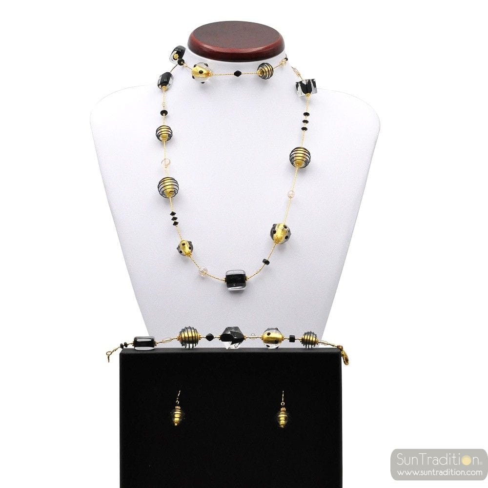 JOJO BLACK AND GOLD - GOLD MURANO GLASS JEWELLERY SET IN REAL VENITIAN GLASS