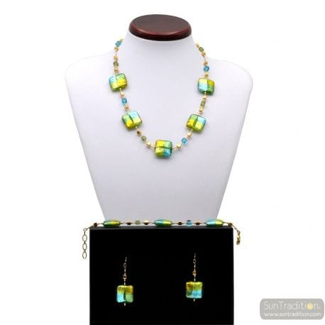 JEWELLRY SET QUADRIFOGLIO GREEN JEWEL IN TRUE MURANO GLASS OF VENICE