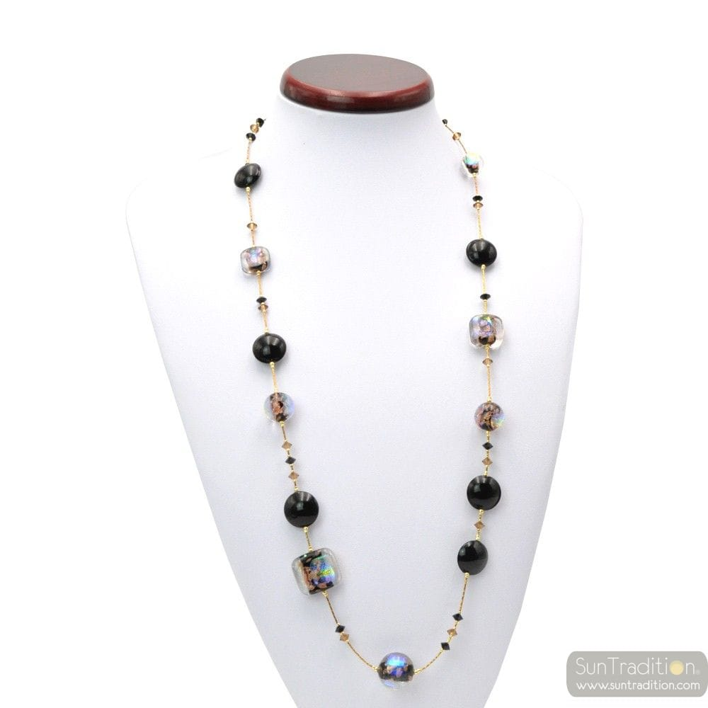 Moonlight black - Black and gold long Murano glass necklace real jewel from venice Italy