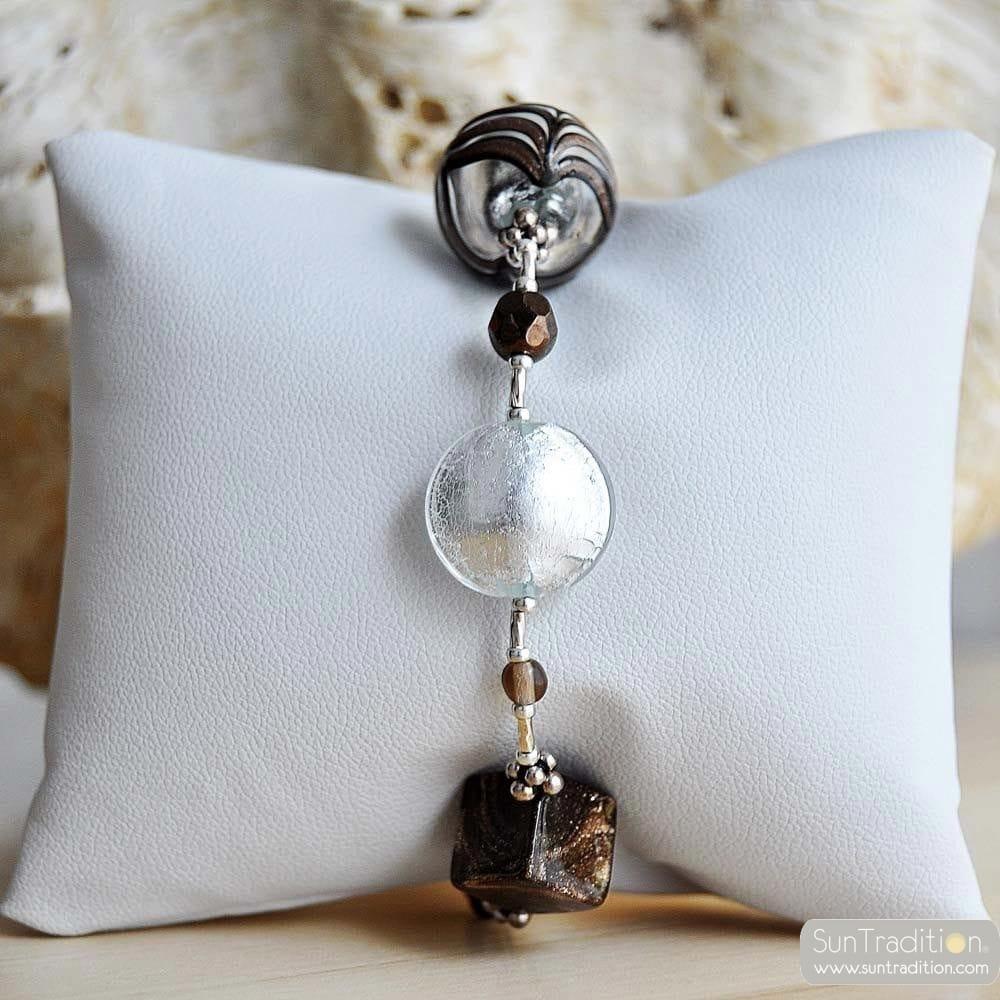 silver amber Venetian glass jewellry bracelet