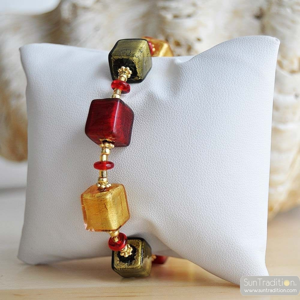 red amber Venetian glass jewellry bracelet