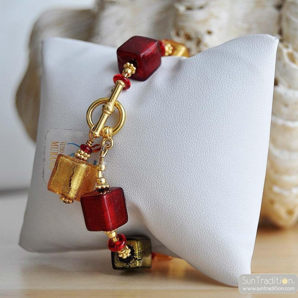 RED GENUINE MURANO GLASS BRACELET