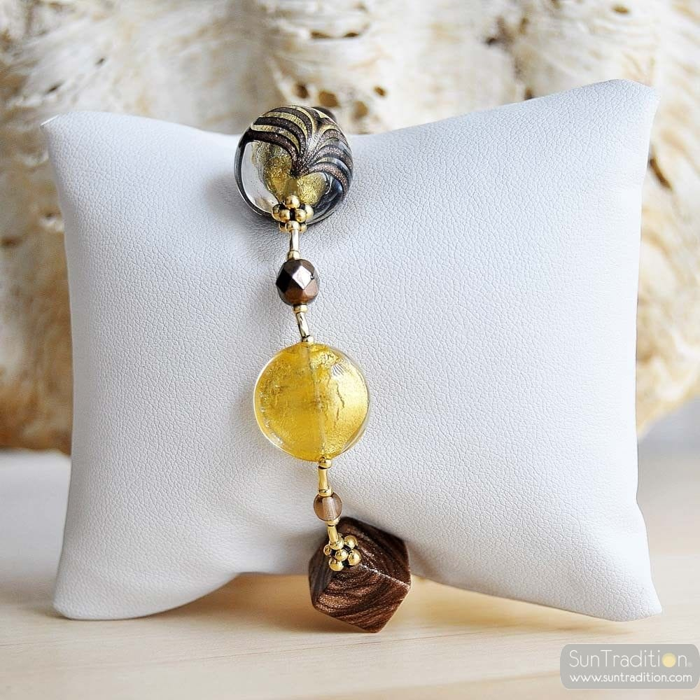 gold amber Venetian glass jewellry bracelet