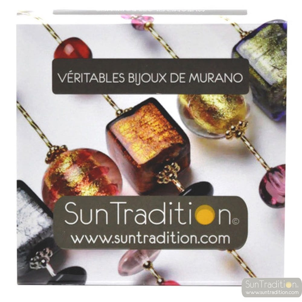 AMERICA - AMBER AND GOLD EARRINGS GENUINE MURANO GLASS OF VENICE