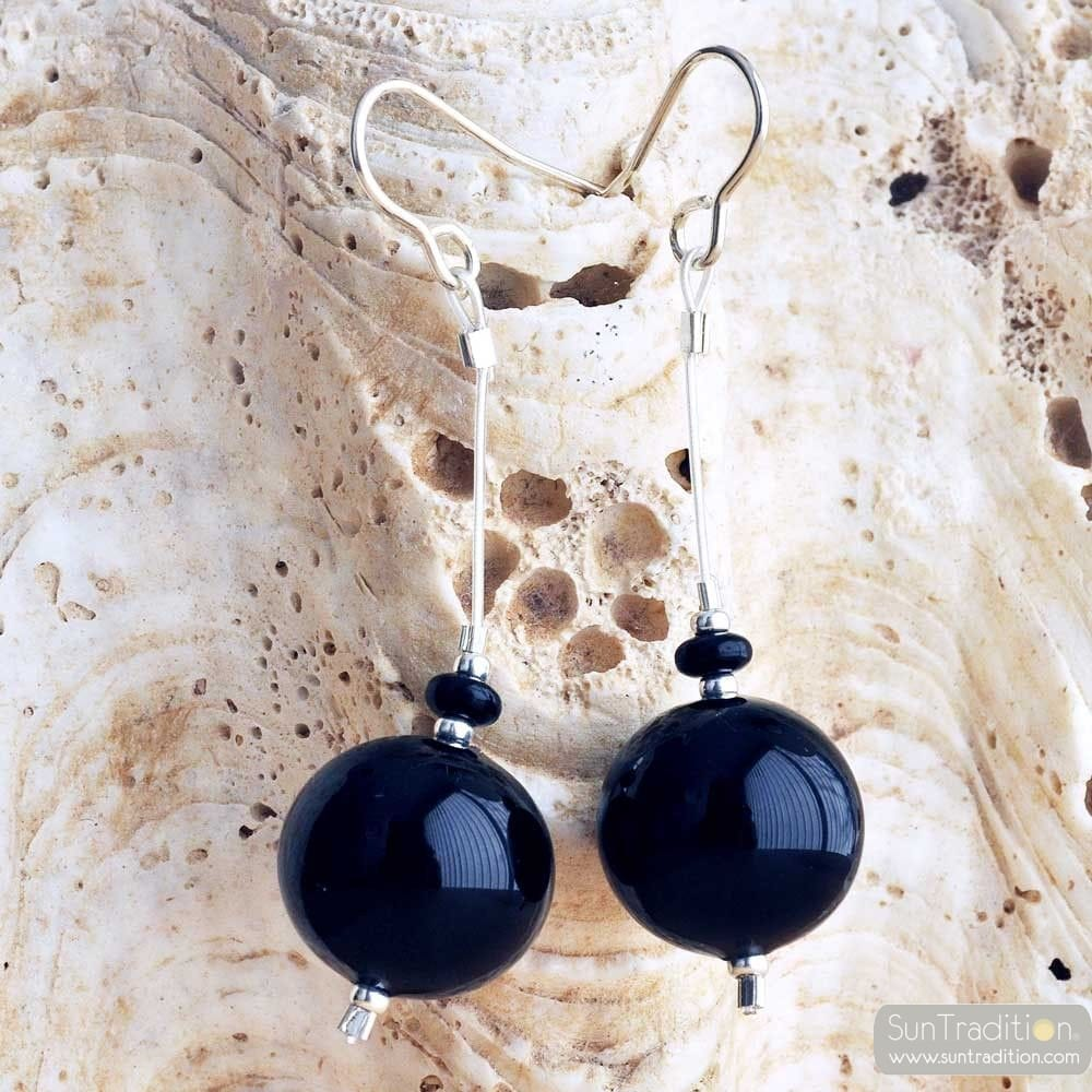 BLACK BALL EARRINGS - BLACK GENUINE MURANO GLASS DROP EARRINGS CAMPIONE