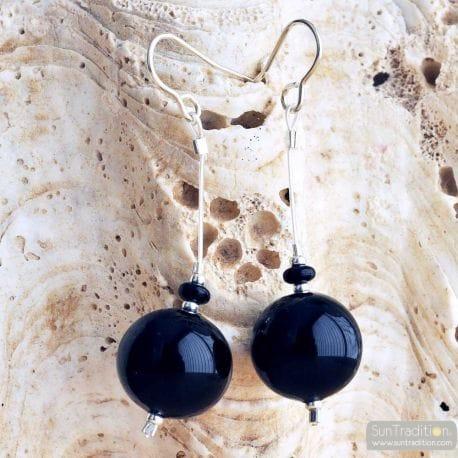 BLACK VENETIAN GLASS EARRINGS