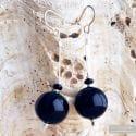 BLACK GENUINE MURANO GLASS EARRINGS CAMPIONE