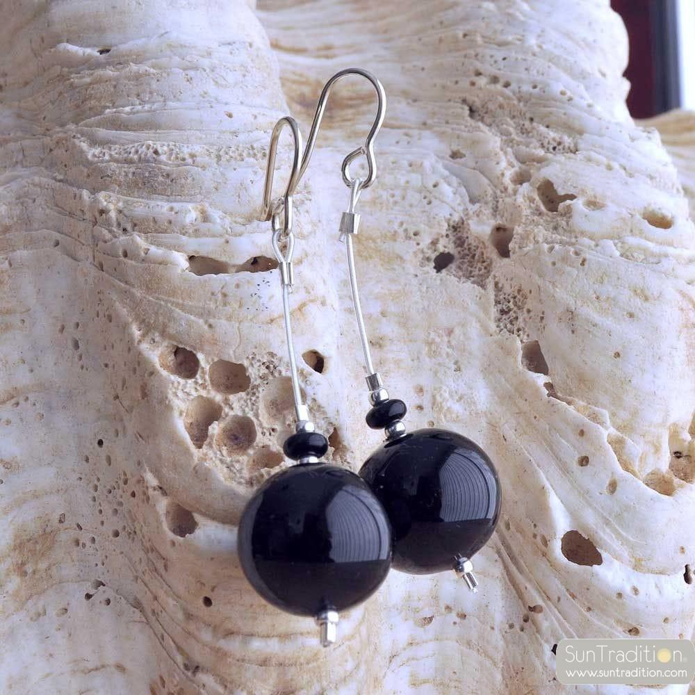 NERO orecchini IN VETRO DI MURANO