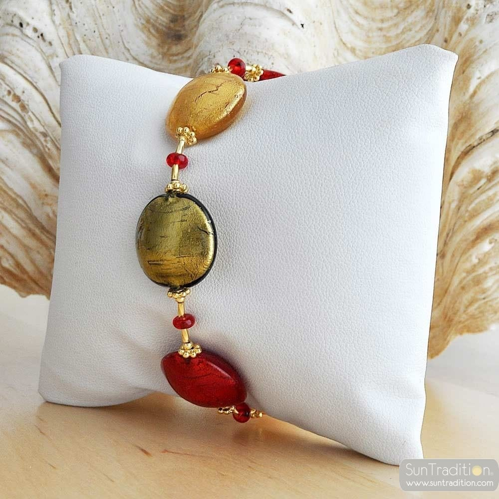 RED MURANO GLASS BRACELET FROM VENECIA