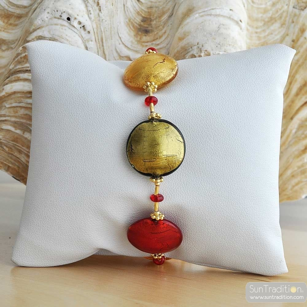RED AND GOLD VENETIAN GLASS BRACELET