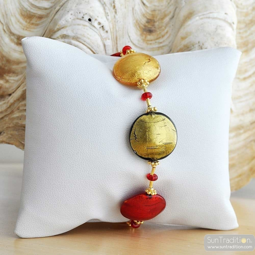 red amber murano glass jewelry bracelet