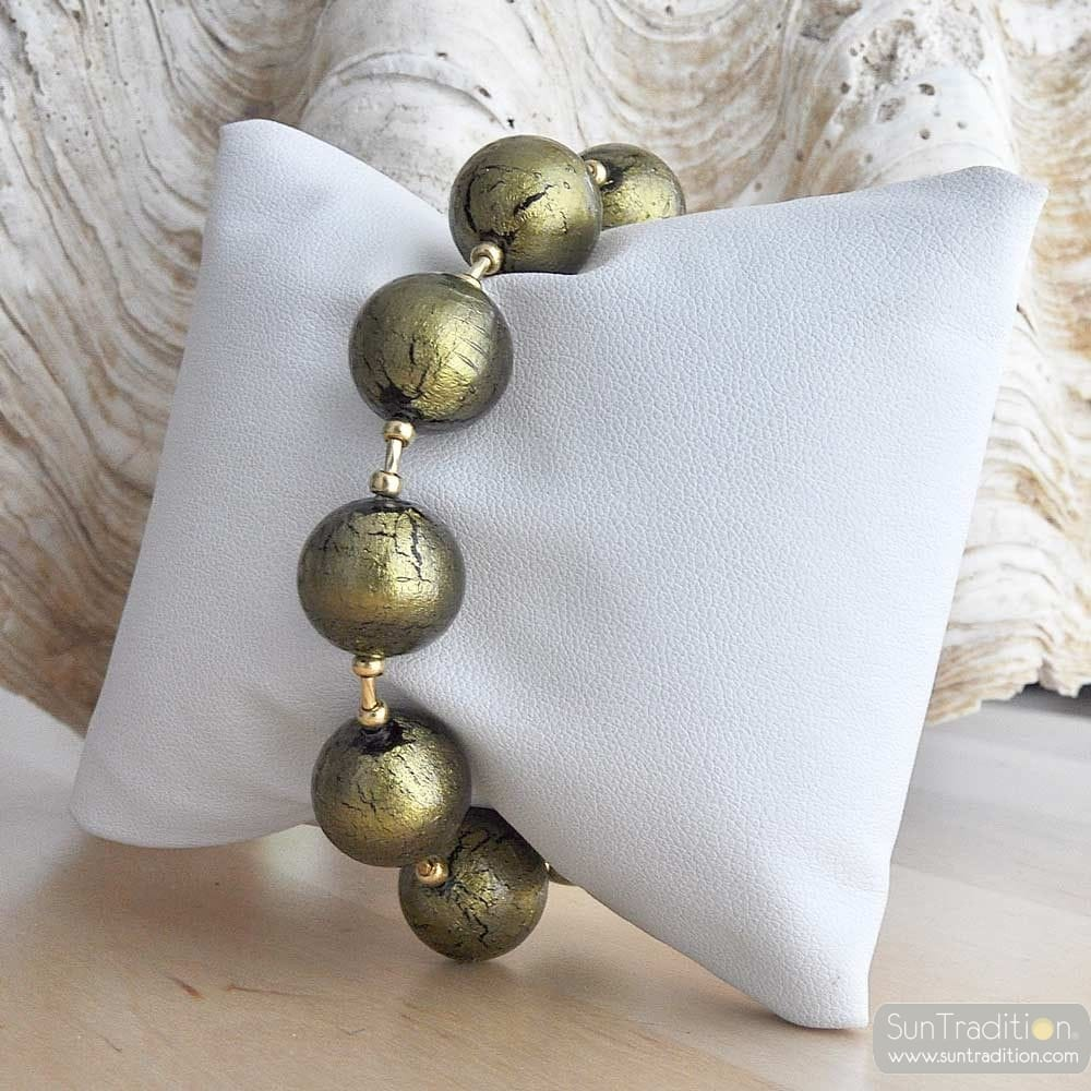 Ball khaki green bracelet - GenuineMurano glass bracelet Venice