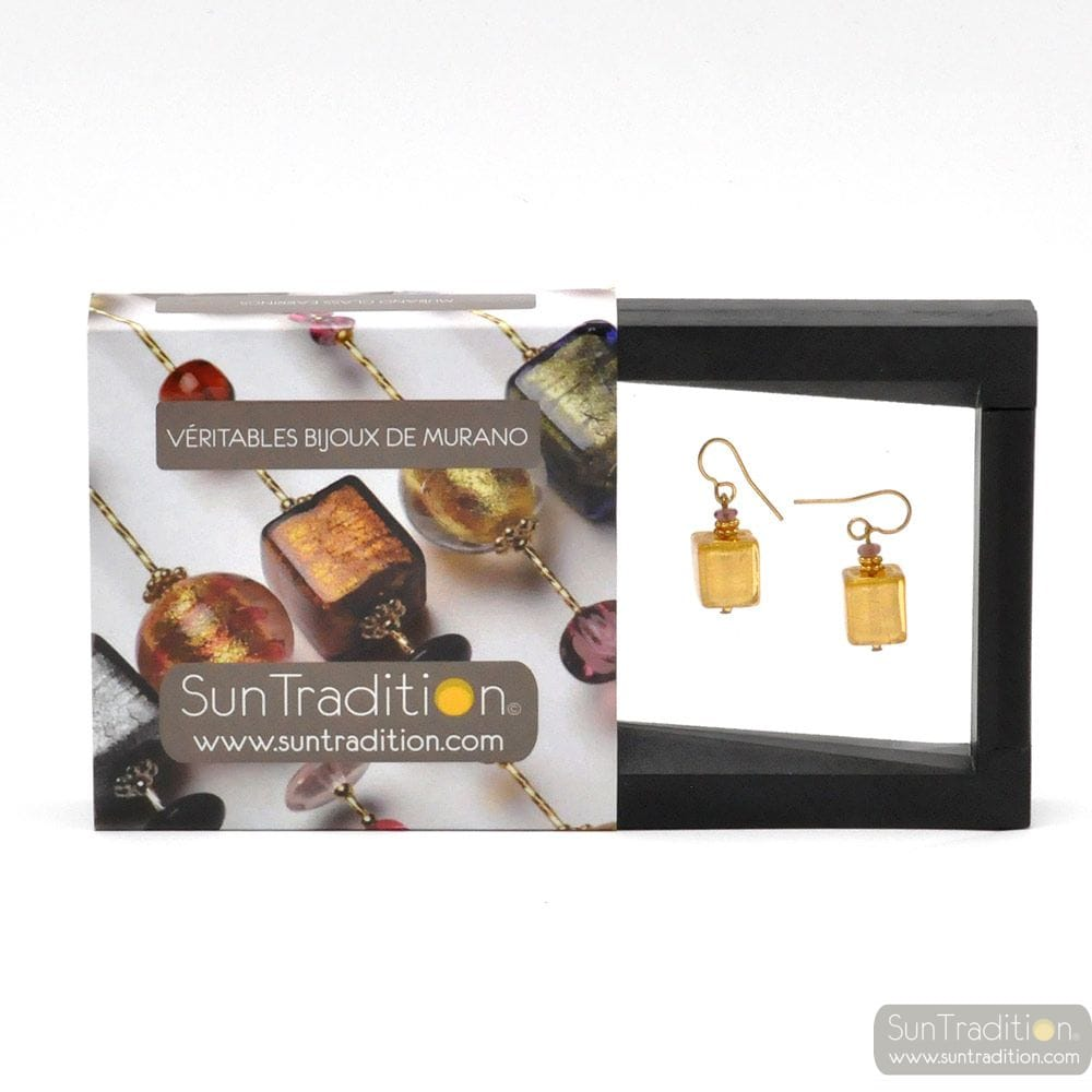 AMERICA - GOLD EARRINGS GENUINE MURANO GLASS OF VENICE