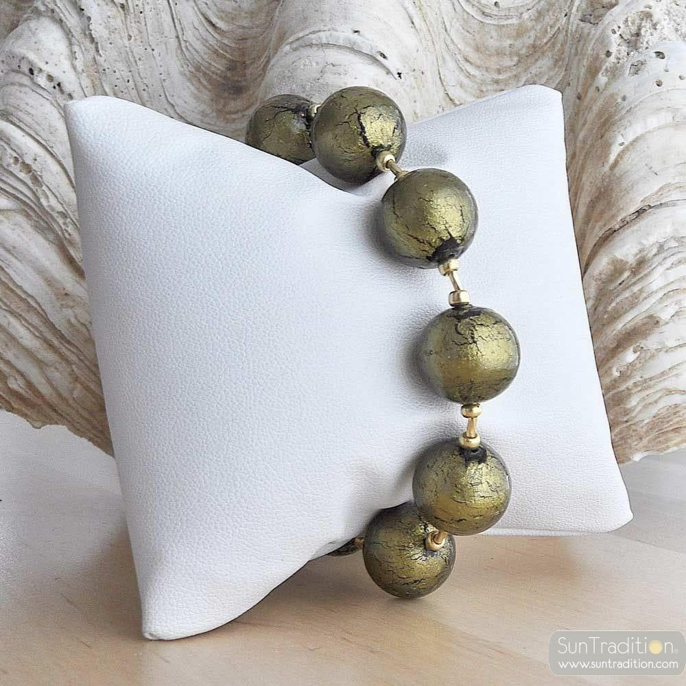 KHAKI GREEN amber murano glass jewelry bracelet
