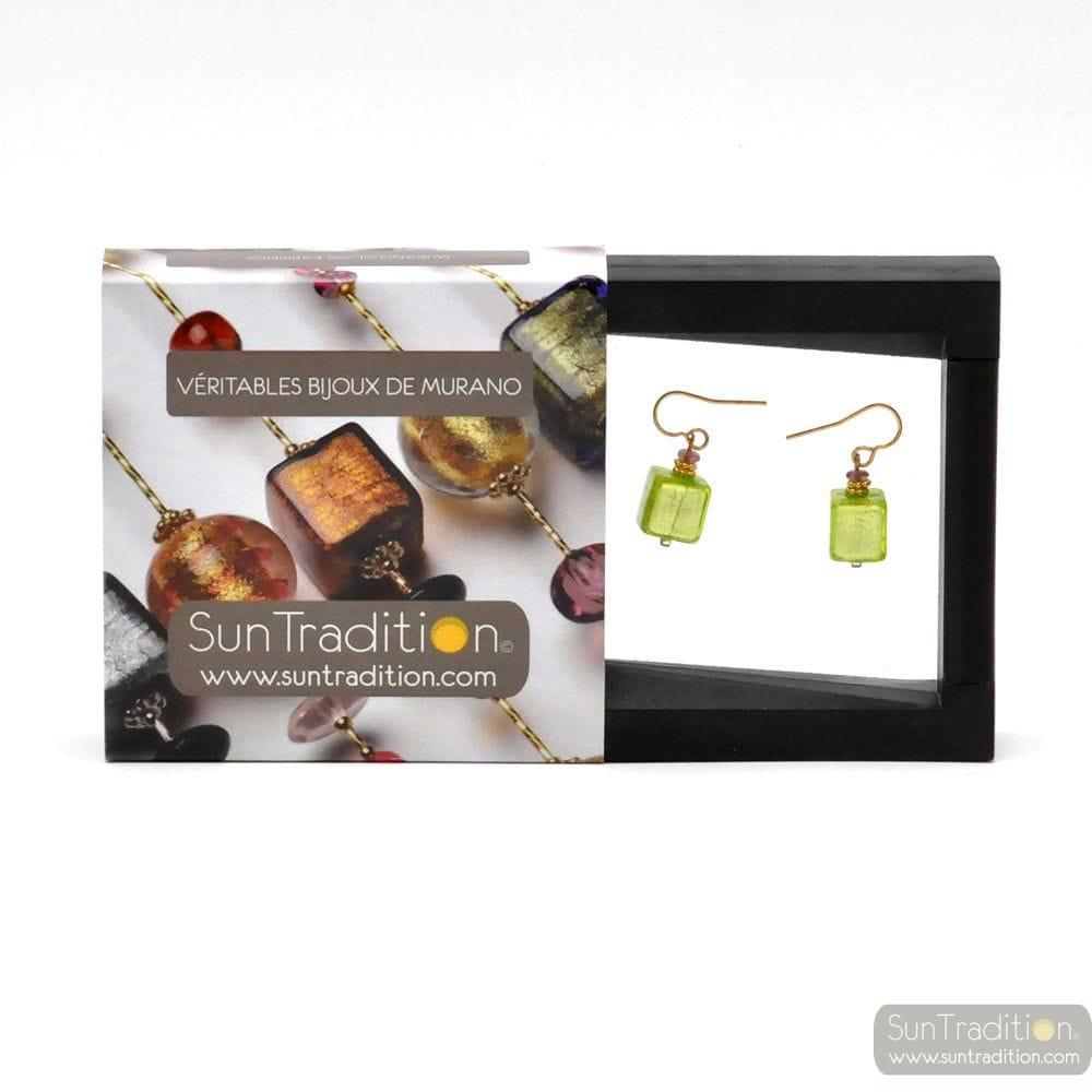 AMERICA - GREEN AND GOLD EARRINGS GENUINE MURANO GLASS VENICE