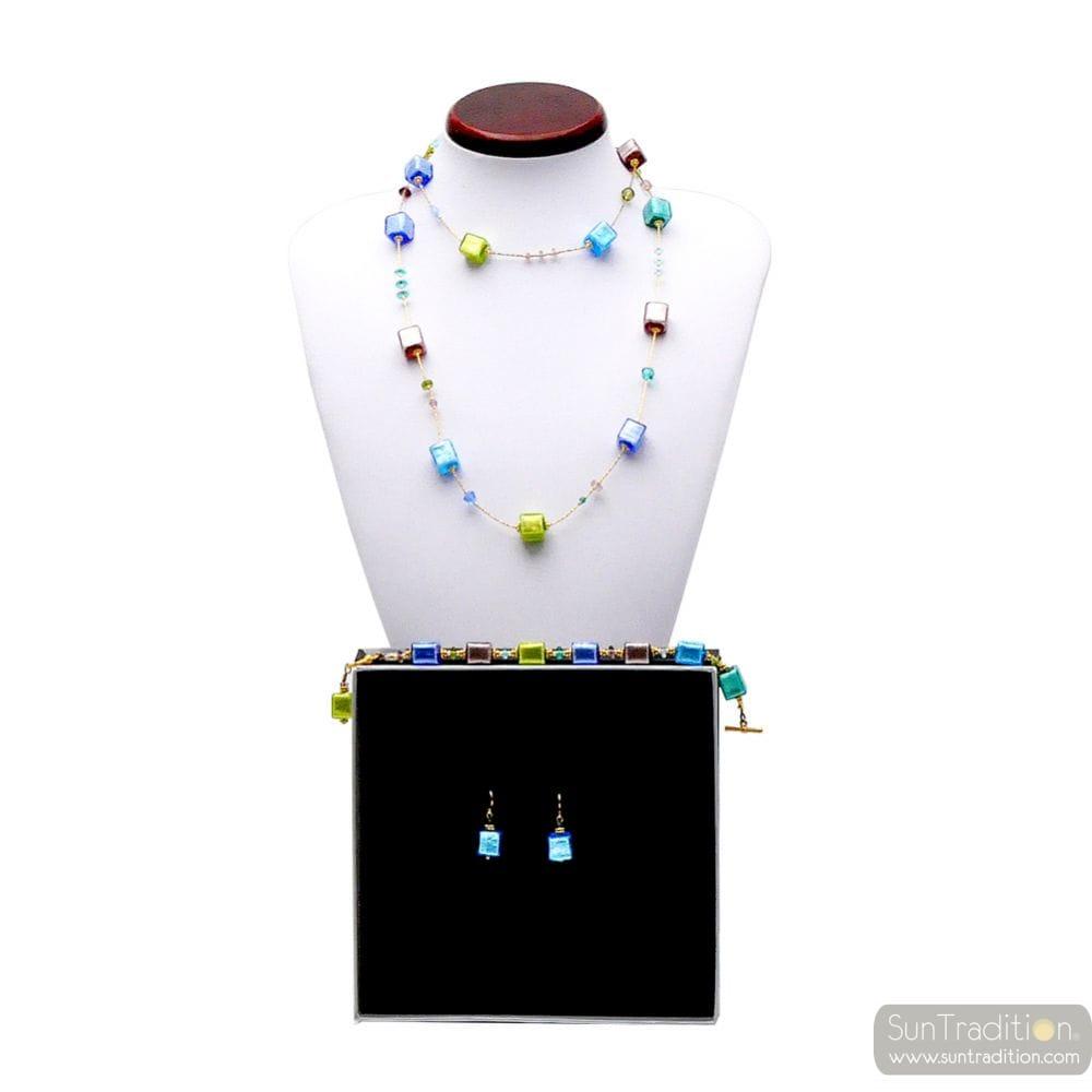 SIERADEN SET KETTING LANGE BLAUWE GOUD EN GROENE ORIGINELE MURANO GLAS
