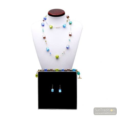 AMERICA LONG AMBER NECKLACE GOLD AND BLUE JEWELRY SET GENUINE MURANO GLASS