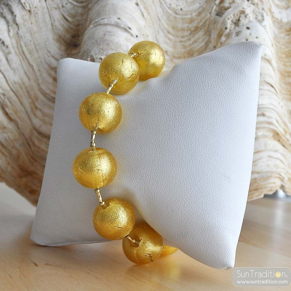 BALL GOLD - GENUINE MURANO GLASS BRACELET FROM VENICE