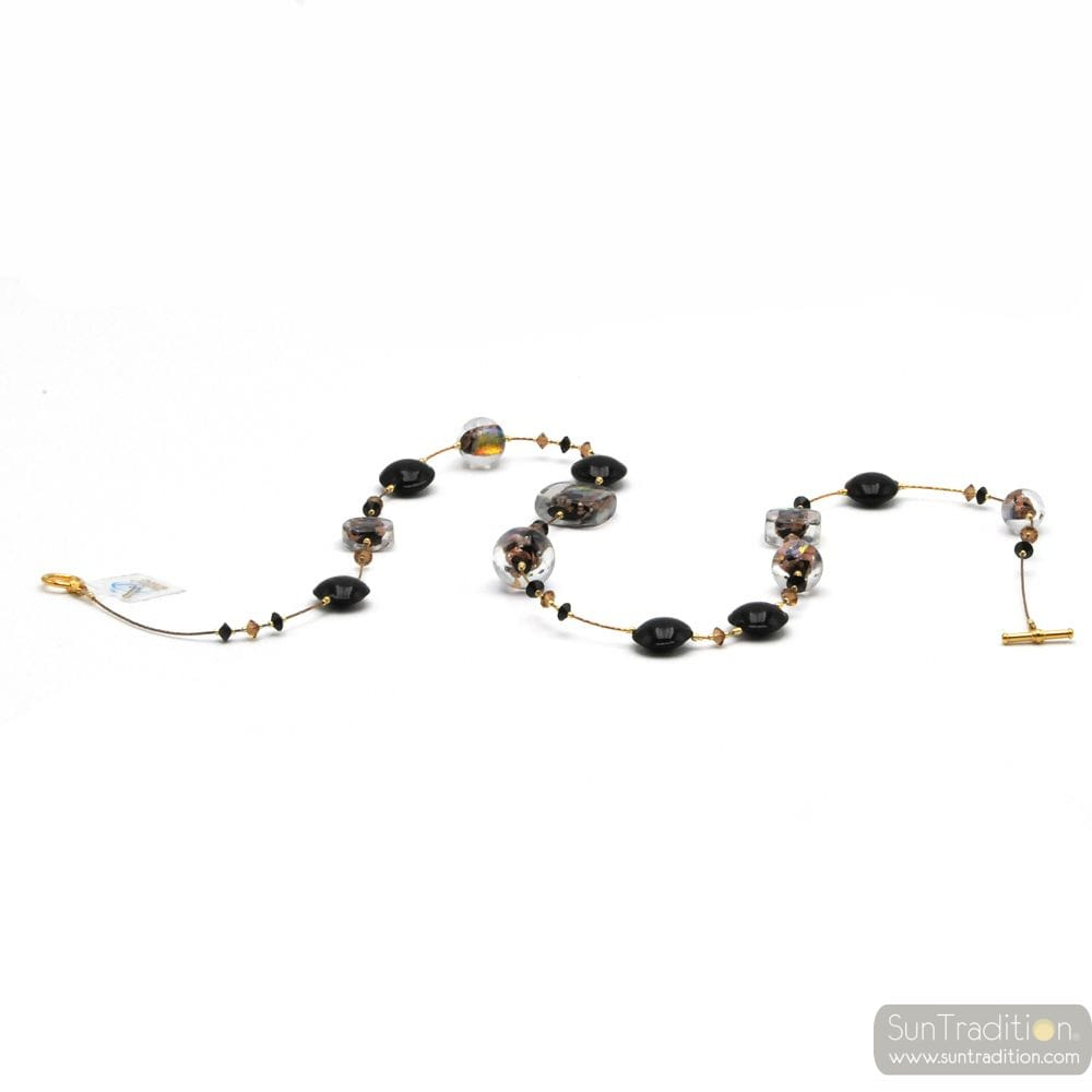 CLEAR MOON BLACK - BLACK COLLAR JEWEL, GENUINE MURANO GLASS OF VENICE