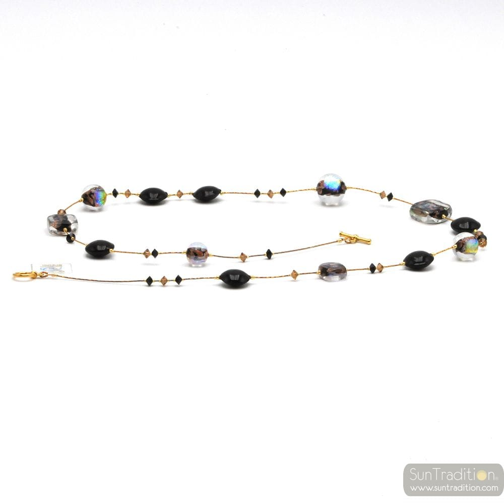 BLACK COLLAR JEWEL, GENUINE MURANO GLASS OF VENICE