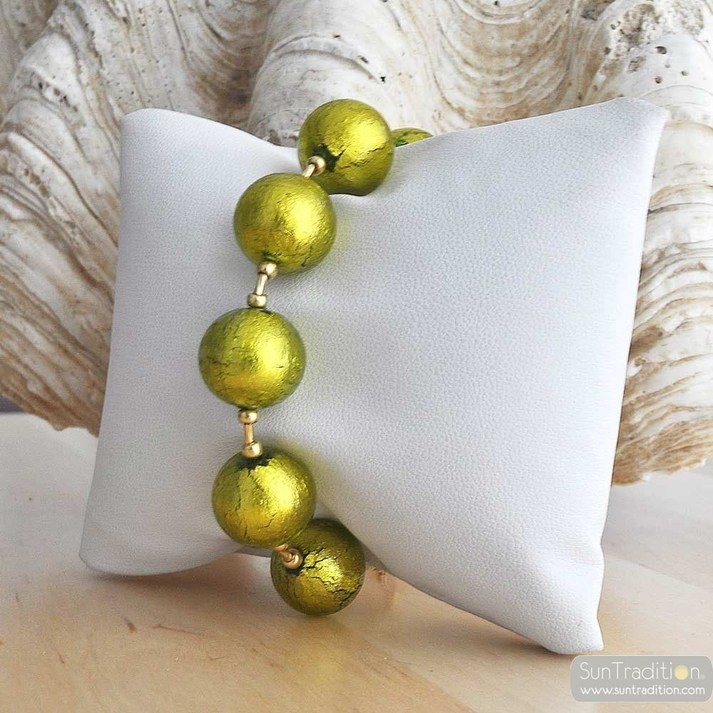 BALL LIME BRACELET - GENUINE MURANO GLASS BRACELET VENICE