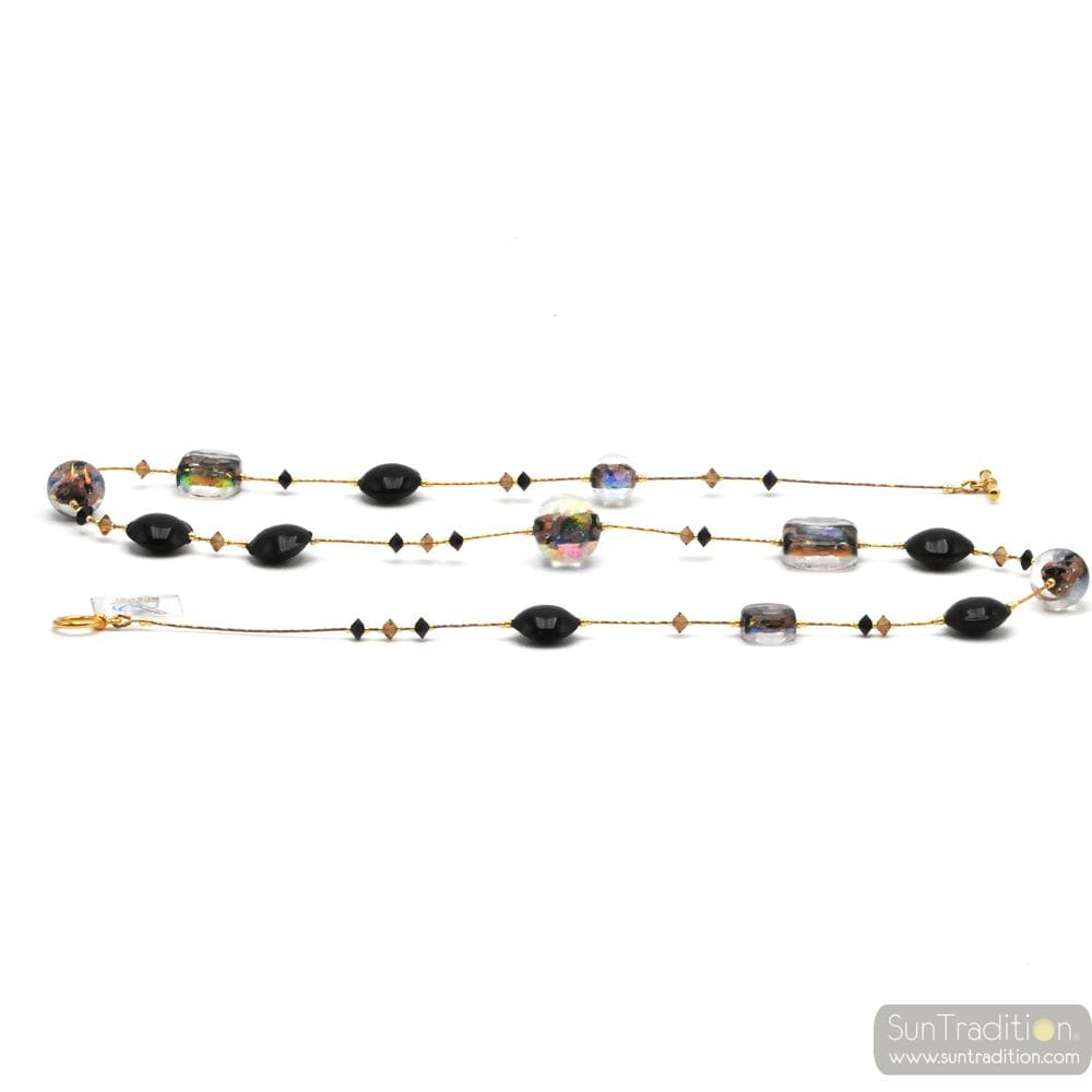 LONG NECKLACE BLACK JEWEL, GENUINE MURANO GLASS OF VENICE