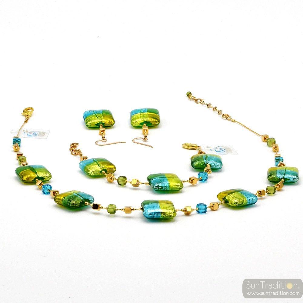 JEWELLRY SET QUADRIFOGLIO GREEN JEWEL IN TRUE MURANO GLASS OF VENICE