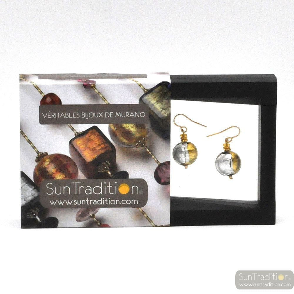 CHARLY DUO COLOR EARRINGS GENUINE VENICE MURANO GLASS