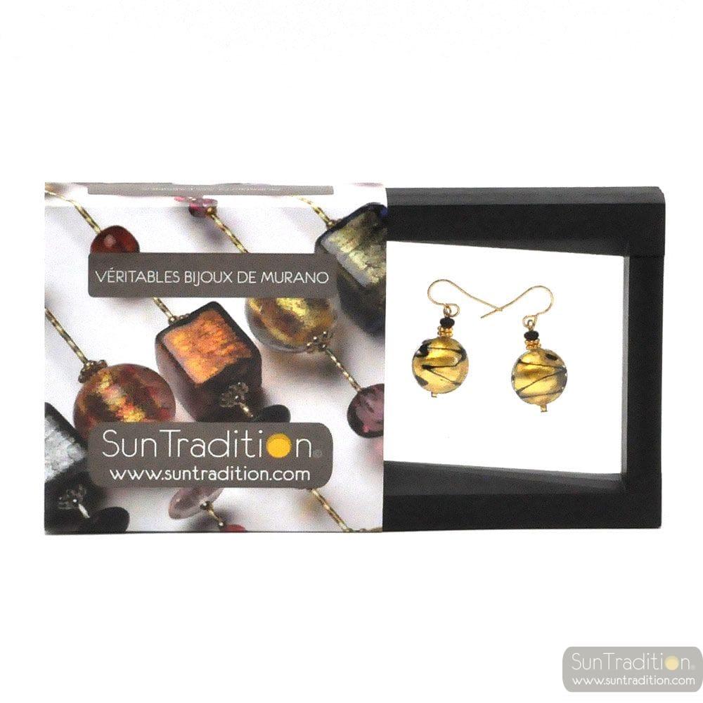 CHARLY GOLD EARRINGS JEWELS GENUINE MURANO GLASS VENECIA