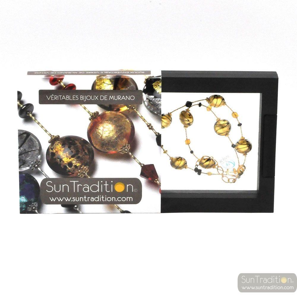NECKLACE GOLD GENUINE MURANO GLASS OF VENICE