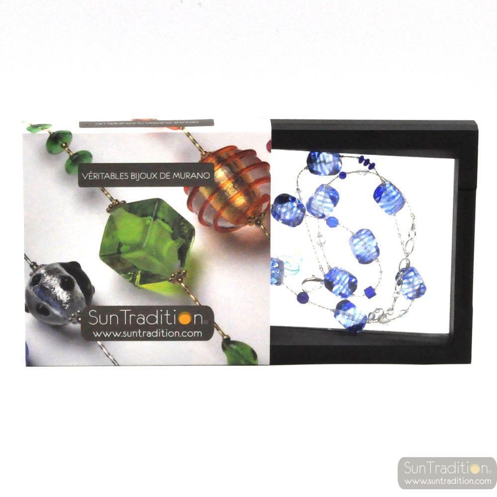 SASSO RIGADIN - COLLAR BLUE GENUINE MURANO GLASS VENICE