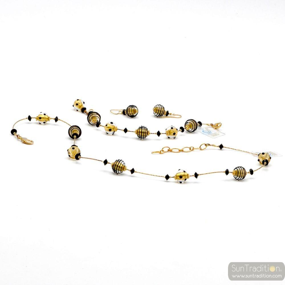 JOJO MINI BLACK AND GOLD JEWELRY SET IN REAL MURANO GLASS VENICE