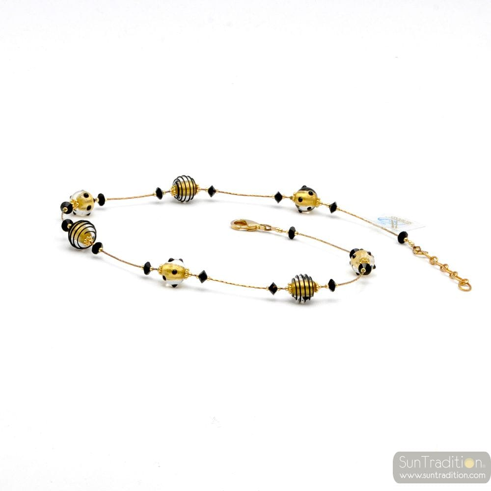 ORIGINAL GOLD MURANO GLASS NECKLACE OF BLACK AND GOLD GENUINE MURANO GLASS