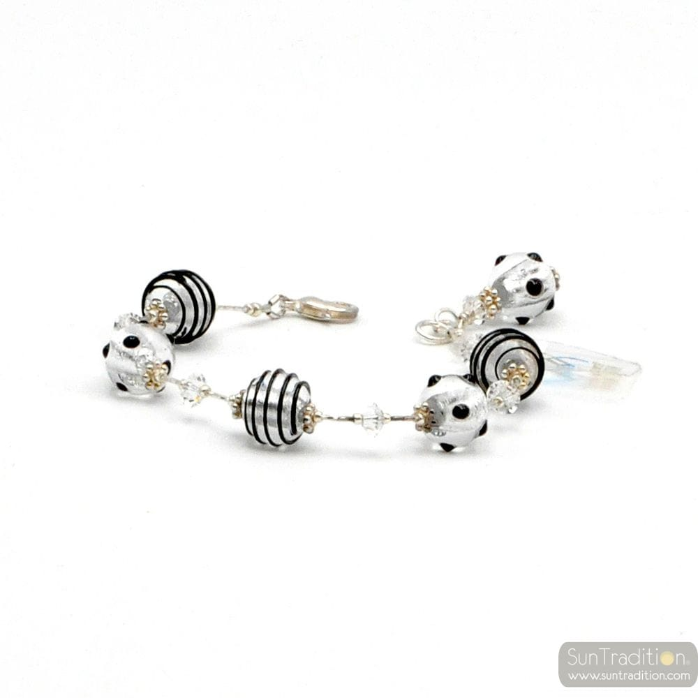 JO- JO MINI BLACK AND SILVER BRACELET GENUINE MURANO GLASS VENICE