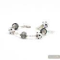 Jo- jo mini black and silver Murano glass bracelet venice Italy