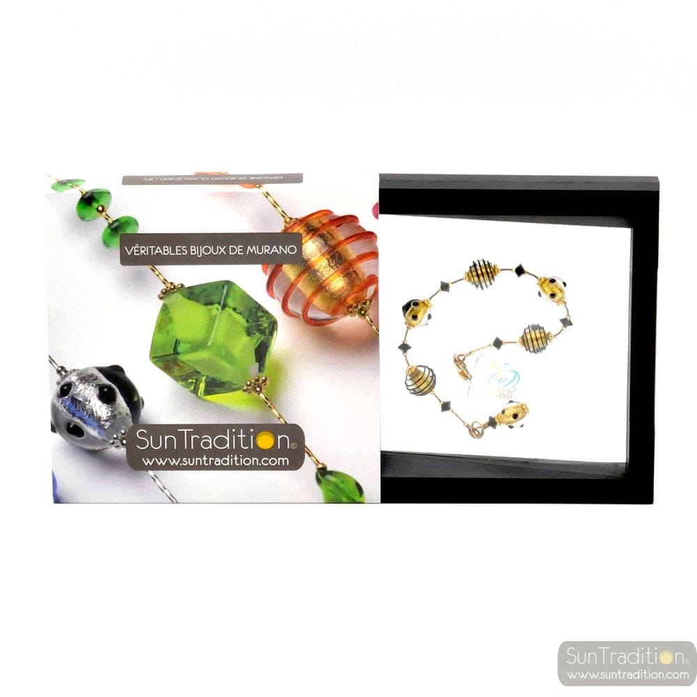 JO- JO MINI BLACK AND GOLD BRACELET GENUINE MURANO GLASS VENICE