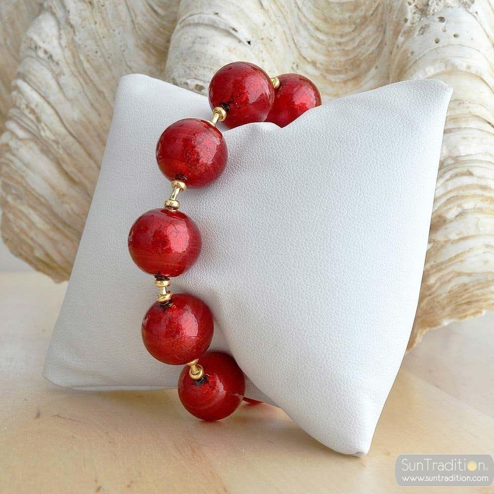 pulseira de vidro murano vermelha Ball