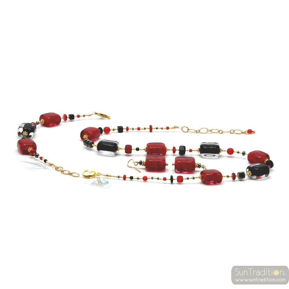 SCHISSA RED AND BLACK JEWELRY SET GENUINE MURANO GLASS