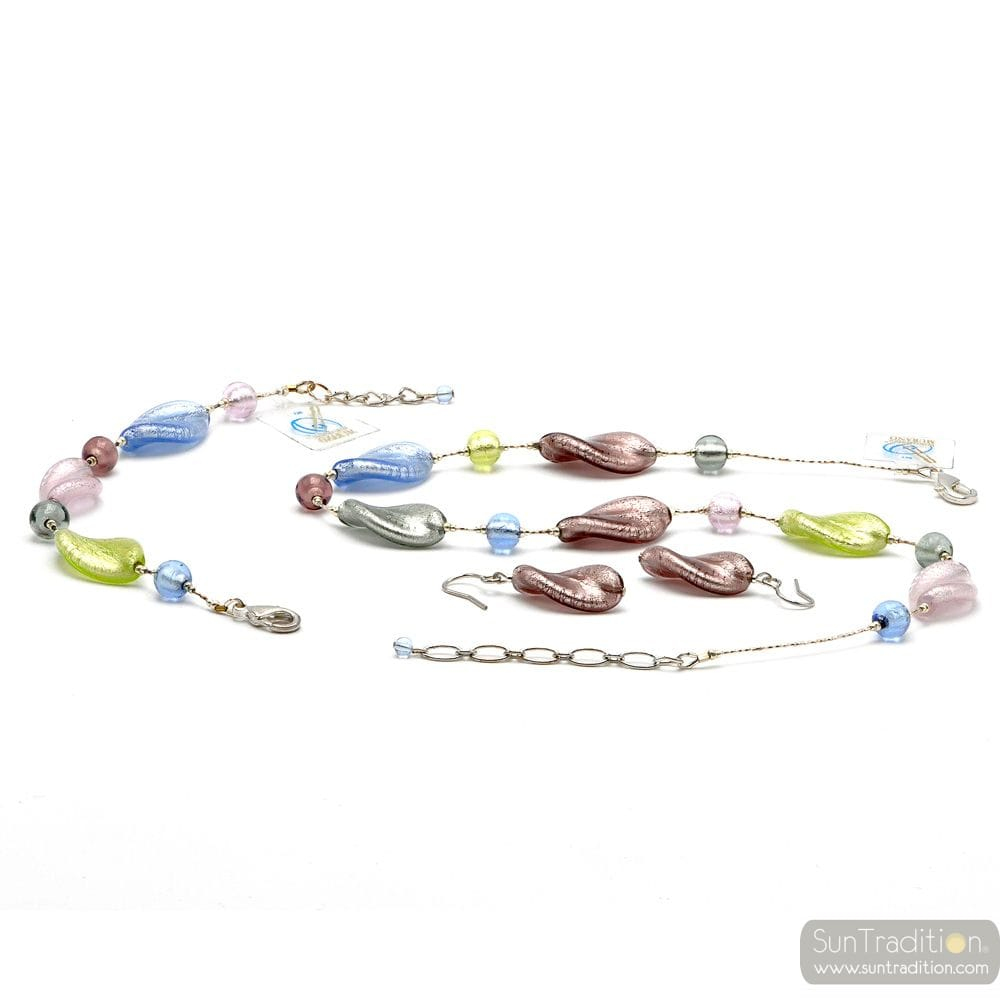 CHLOROPHYLLE SILVER JEWELRY SET REAL MURANO GLASS VENICE