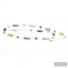 LONG SILVER MULTICOLOR NECKLACE GENUINE MURANO GLASS