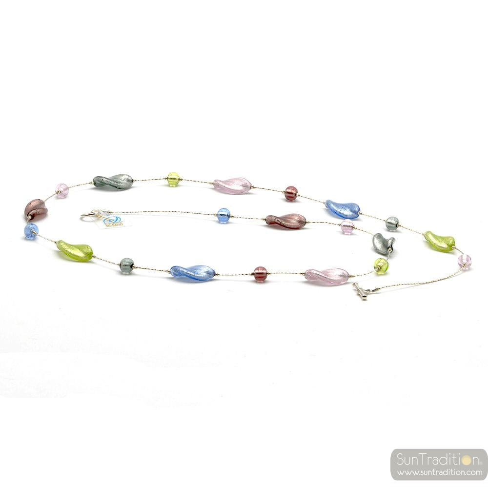 LONG SILVER MURANO GLASS NECKLACE