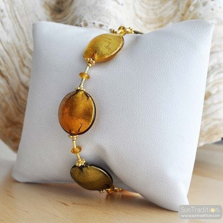 gold amber murano glass jewelry bracelet