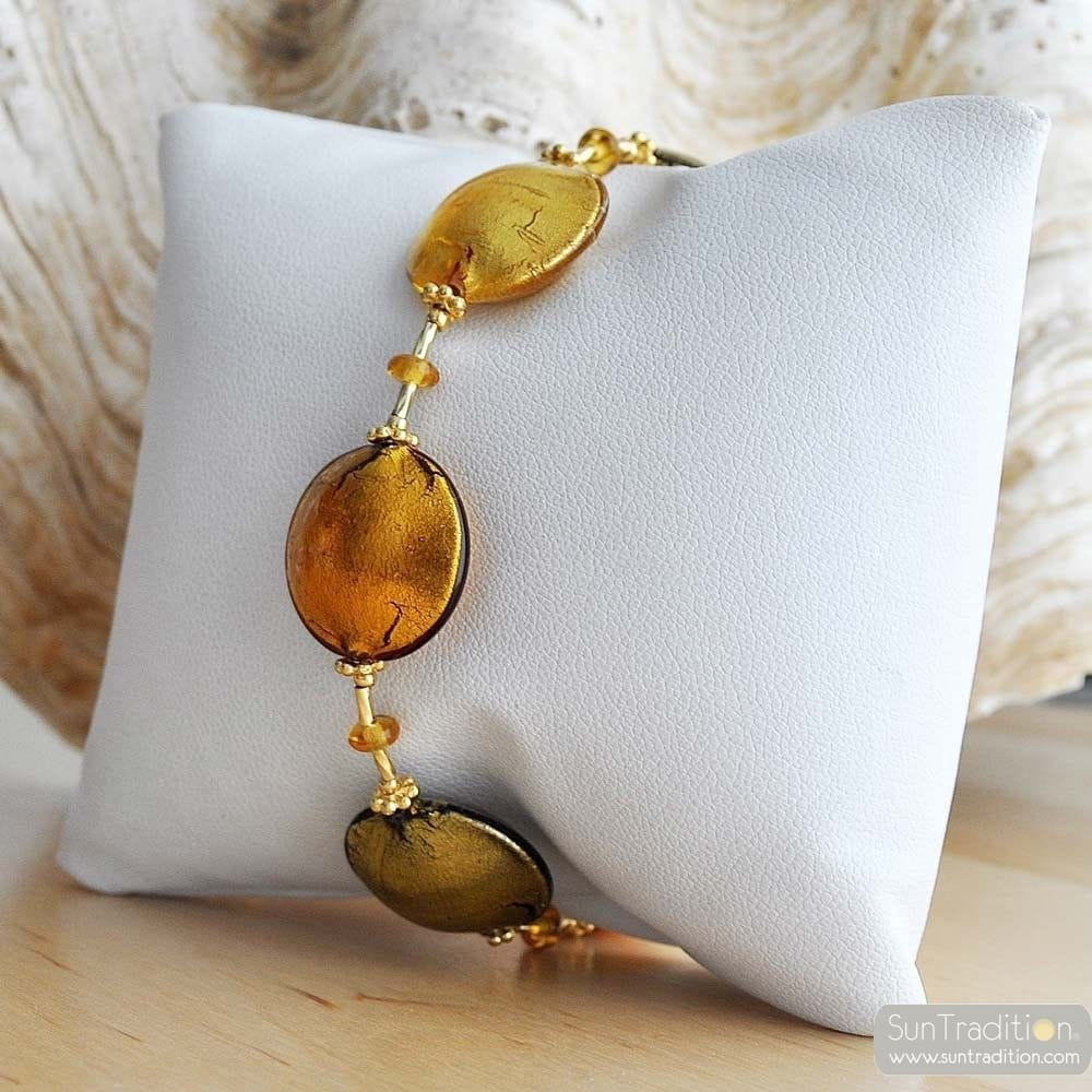 gold amber murano glass jewelry bracelet