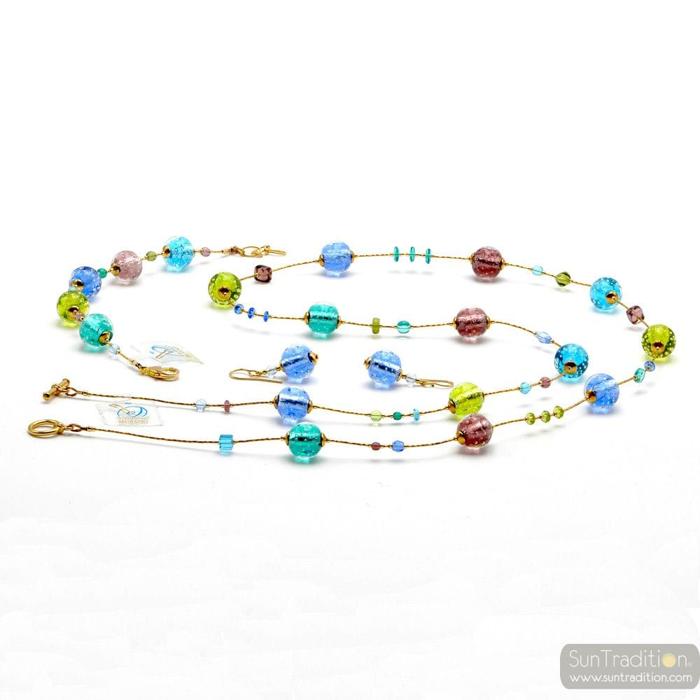FIZZY BLUE JEWELRY SET IN REAL MURANO GLASS VENICE
