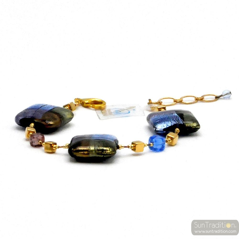 QUADRIFOGLIO BLUE - BLUE MURANO GLASS BRACELET FROM VENICE