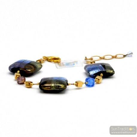 BLUE MURANO GLASS BRACELET OF VENICE QUADRIFOGLIO