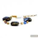 Blue Quadrifoglio - Blue Murano glass bracelet true venice jewel Italy