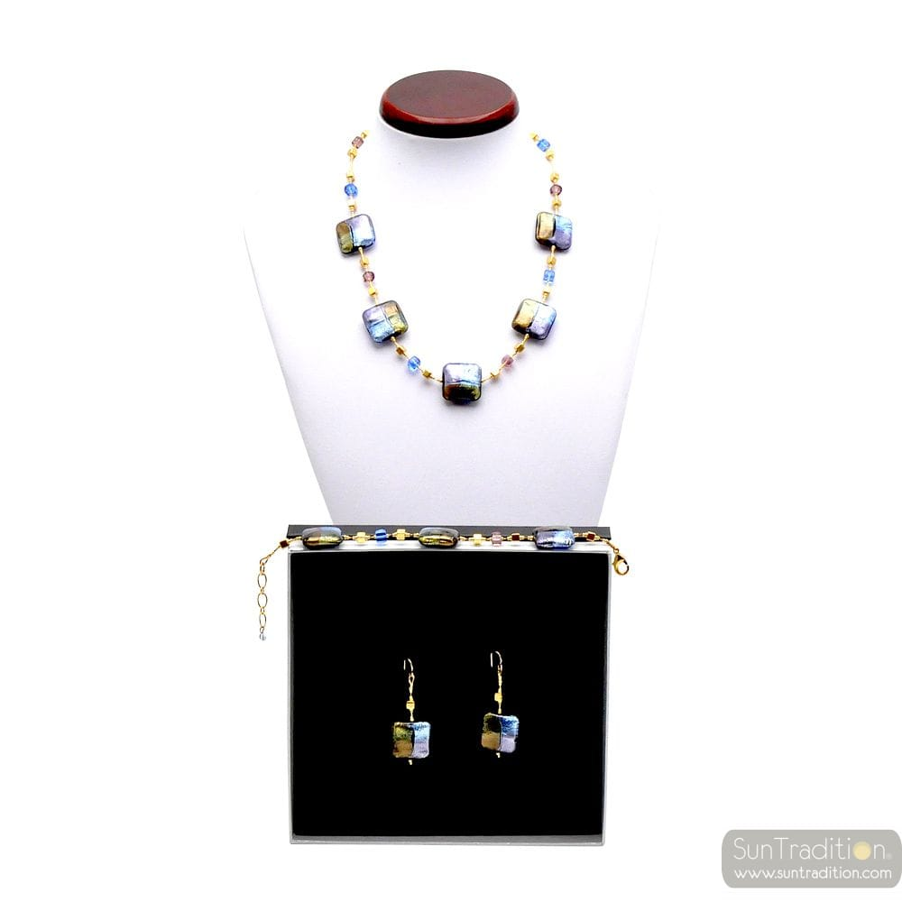 JEWELLRY SET QUADRIFOGLIO BLUE JEWEL IN TRUE MURANO GLASS OF VENICE