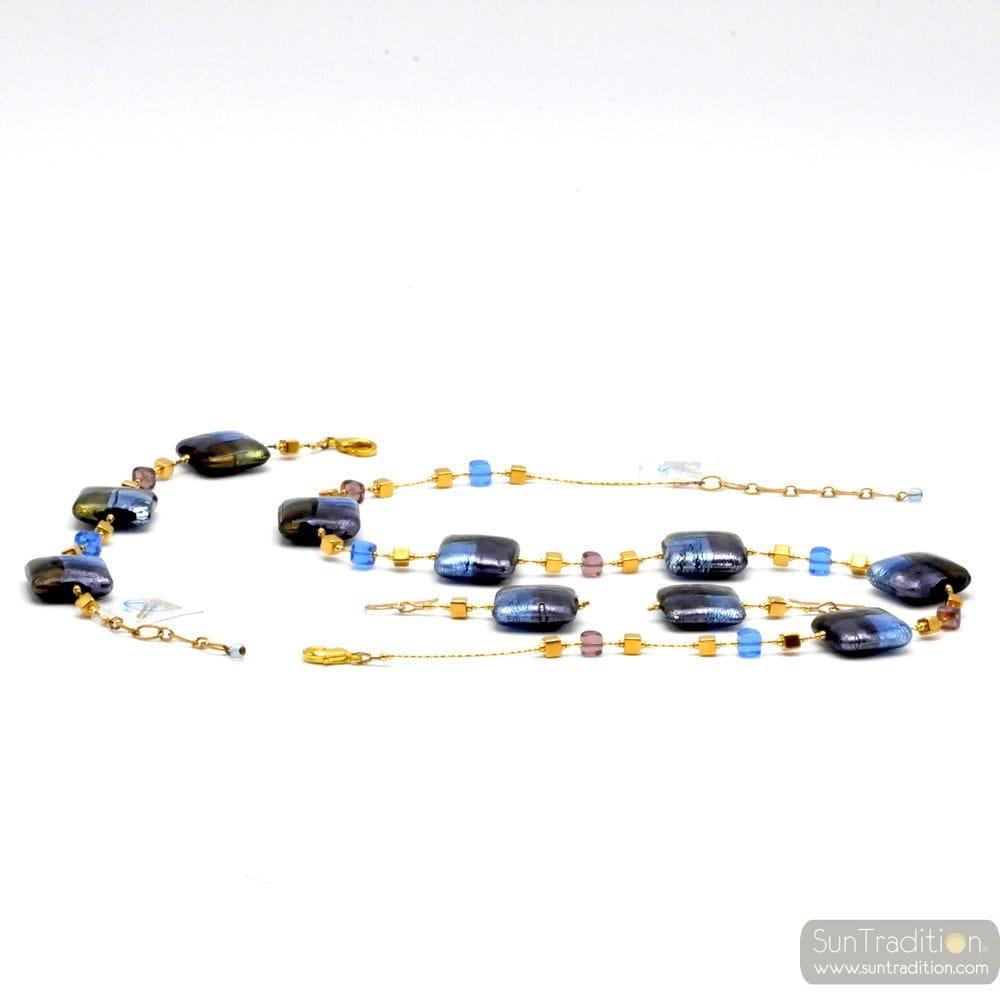 JEWELLRY SET QUADRIFOGLIO BLUE JEWEL IN TRUE MURANO GLASS OF VENICE