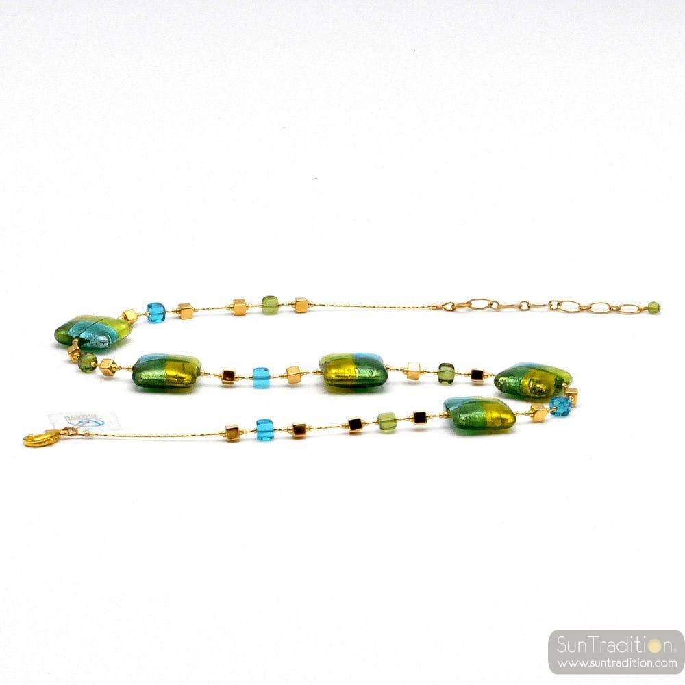 QUADRIFOGLIO NECKLACE GREEN JEWEL, GENUINE MURANO GLASS OF VENICE